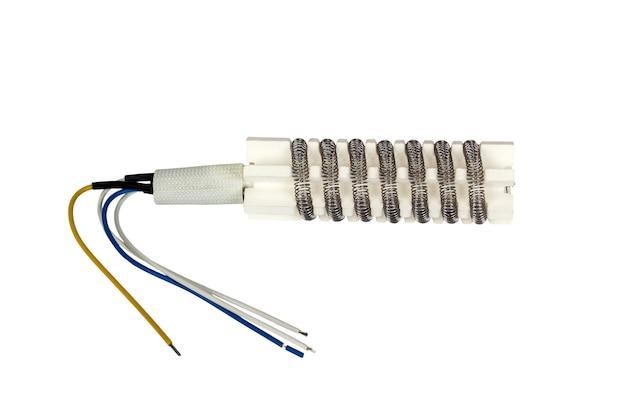 Elemento calefactor para estación de soldadura smd de pistola de aire caliente. aislado en un fondo blanco.