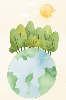 Elemento de diseño de bosque de plantación de tierra.