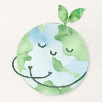 Elemento de diseño de mundo pacífico con entorno verde.