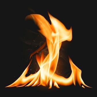 Elemento de llama de fogata, imagen realista de fuego ardiente