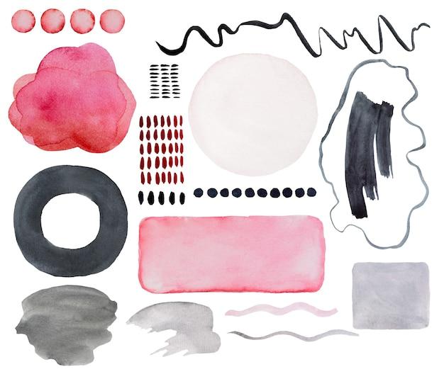 Elementos abstractos pintados de color rosa y gris acuarela. dibujado a mano ilustración de conjunto de impresión moderna