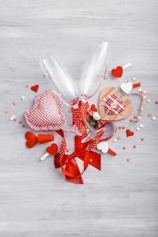 Elementos de amor, concepto para el día de san valentín.