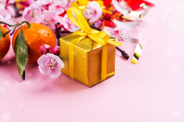 Elementos del año nuevo chino en rosa