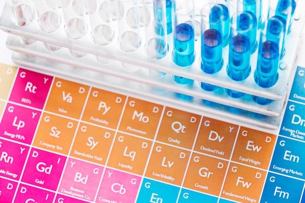 Elementos de ciencia con arreglo de productos químicos.