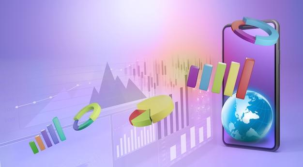 Los elementos de datos comerciales bar diagramas de gráficos circulares y gráficos en el teléfono inteligente. representación 3d