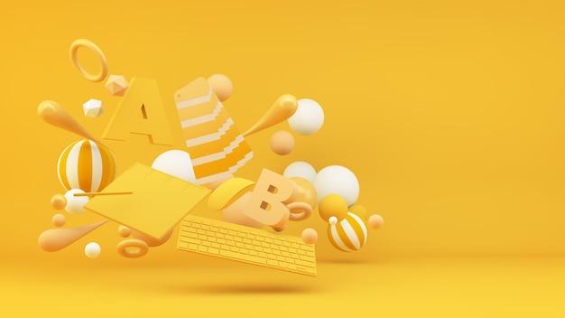 Elementos de diseño gráfico flotante renderizado 3d