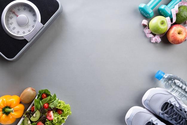 Elementos de estilo de vida saludable en gris