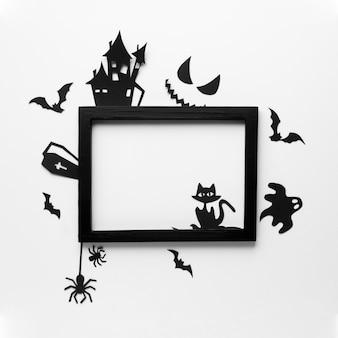 Elementos de fiesta malvada de halloween con marco