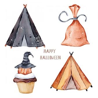 Elementos de halloween de otoño