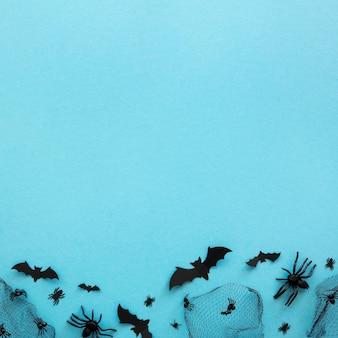 Elementos de halloween de vista superior con espacio de copia