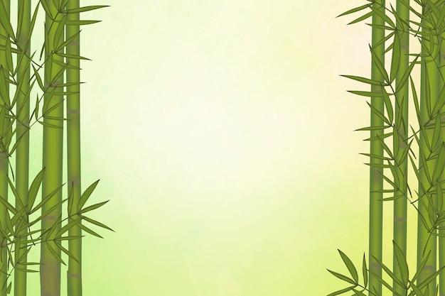 Elementos de hoja de bambú verde