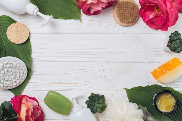 Elementos naturales de spa con jabón
