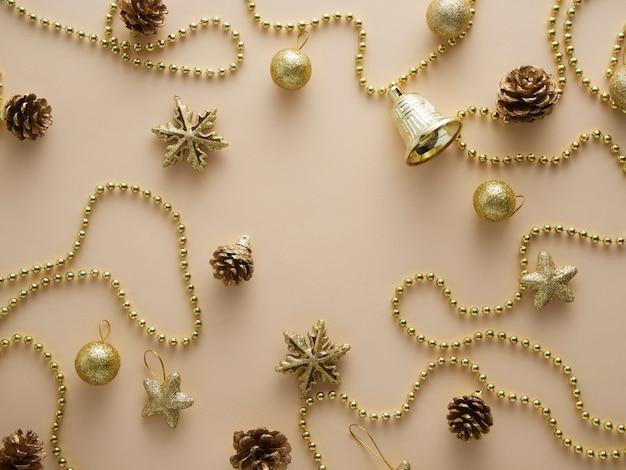 Elementos de navidad oro brillo.