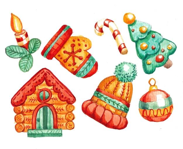 Elementos navideños en blanco