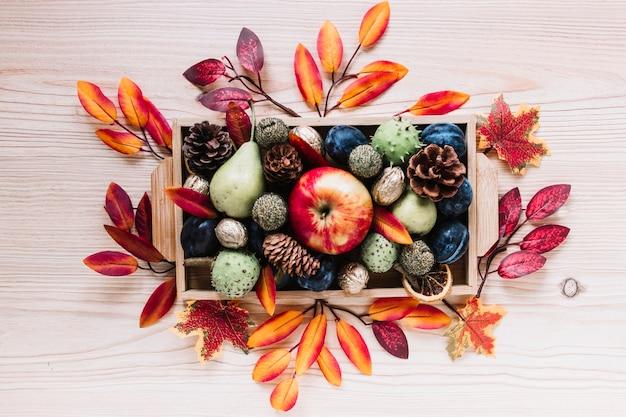 Elementos de otoño y frutas en caja de madera