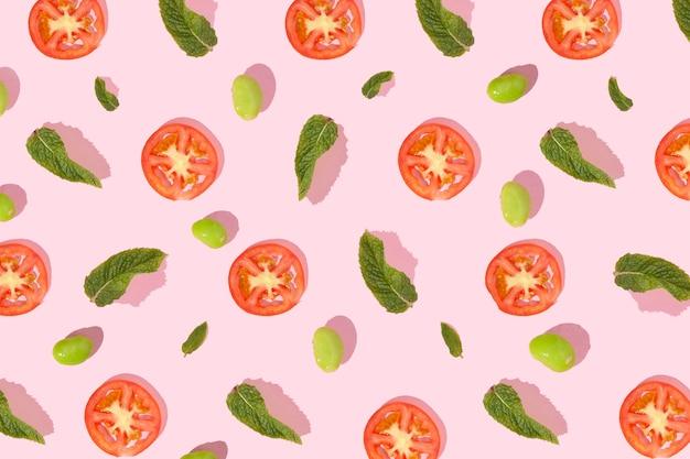 Elementos de patrón hechos con trozos de comida