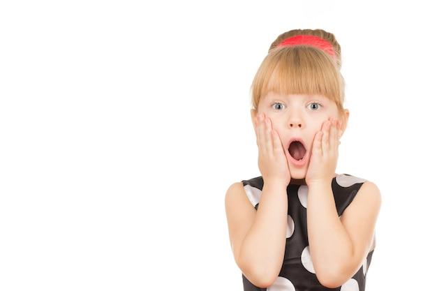 Ella es tan emocional. retrato de una niña muy sorprendida con la boca abierta y las manos a la cara