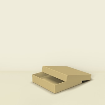 Embalaje de caja sobre fondo beige