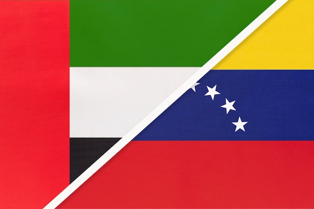 Emiratos árabes unidos o eau y venezuela, símbolo de dos banderas nacionales de textil.
