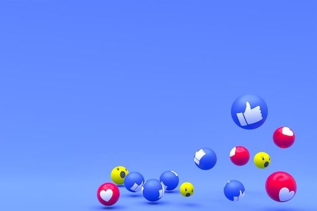 Emociones de reacciones de facebook, símbolo de globo de redes sociales con patrón de iconos de facebook