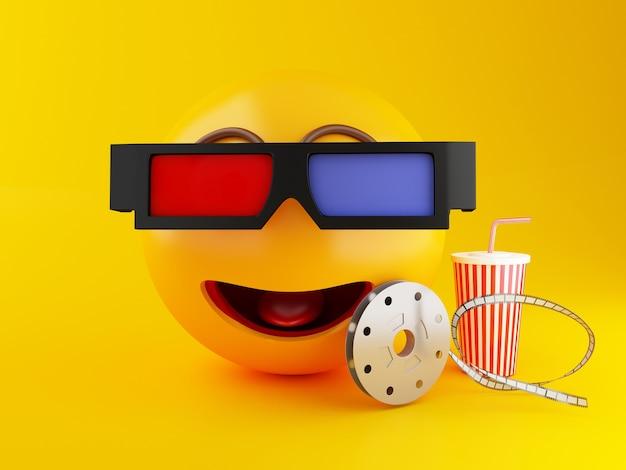 Emoji 3d con anteojos y bebida. cine