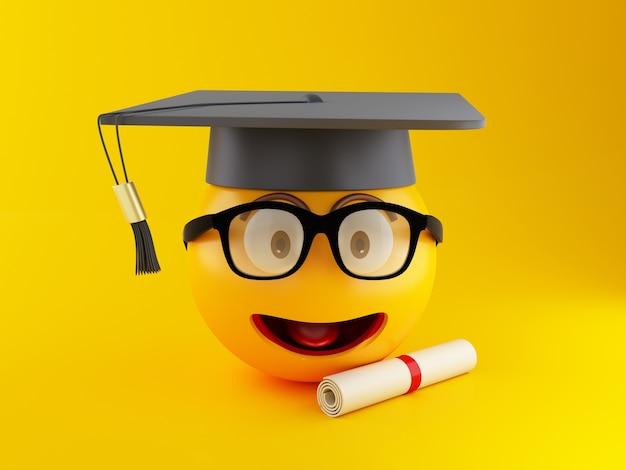 Emoji de la graduación 3d con el casquillo y el diploma de la graduación.