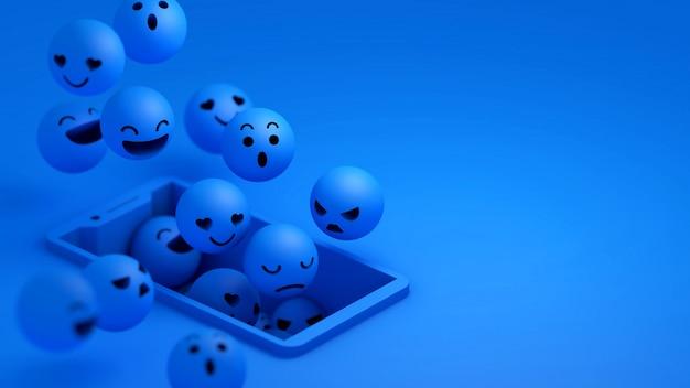 Emojis azules 3d flotando en la pantalla del teléfono inteligente
