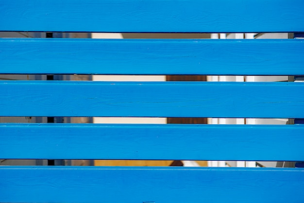 Empalizada de madera horizontal azul