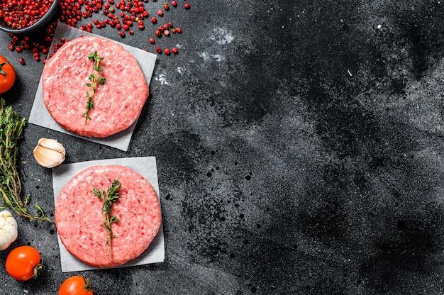 Empanadas de hamburguesa, molida fresca cruda, carne picada