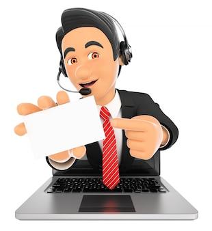 Empleado del centro de llamadas 3d que sale de la pantalla de un portátil con una tarjeta en blanco