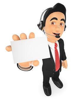 Empleado del centro de llamadas 3d con una tarjeta en blanco