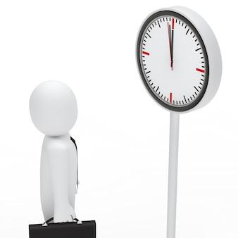 Empleado mirando un reloj blanco