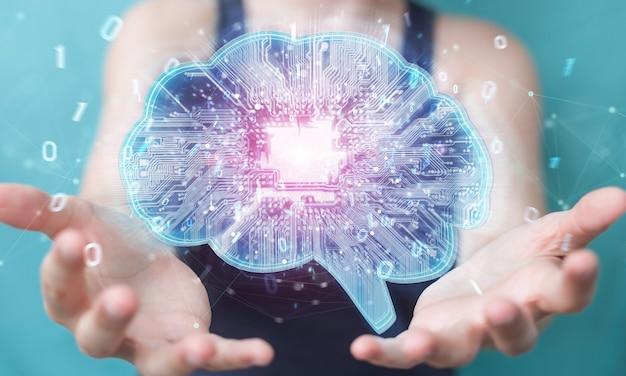 La empresaria creando inteligencia artificial en un cerebro digital