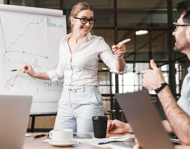 La empresaria con gafas durante la presentación de una reunión con sus compañeros de trabajo