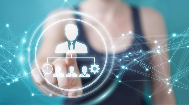 Empresaria con gráfico de liderazgo empresarial, render 3d