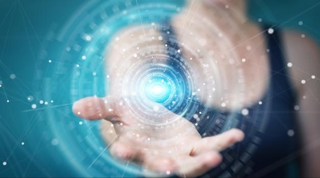 Empresaria mediante interfaz de conexión de red digital, render 3d