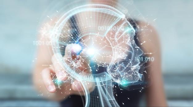 Empresaria con interfaz de inteligencia artificial digital, render 3d