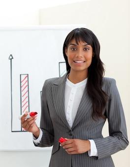 Empresaria joven étnica que informa cifras de ventas
