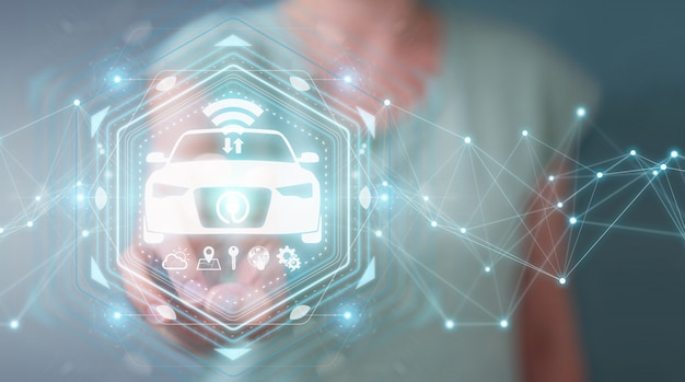 Empresaria que usa la representación moderna del interfaz del coche elegante 3d