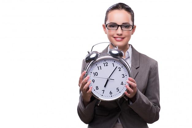 Empresaria con el reloj en concepto de negocio