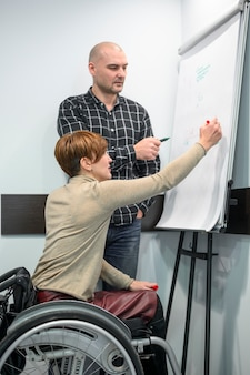 Empresaria en silla de ruedas escribiendo en un rotafolio