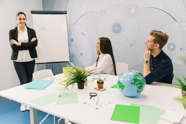 Empresaria sonriente con las manos juntas, de pie cerca de rotafolio en la reunión