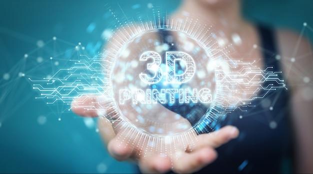 Empresaria usando impresión 3d renderizado 3d holograma digital