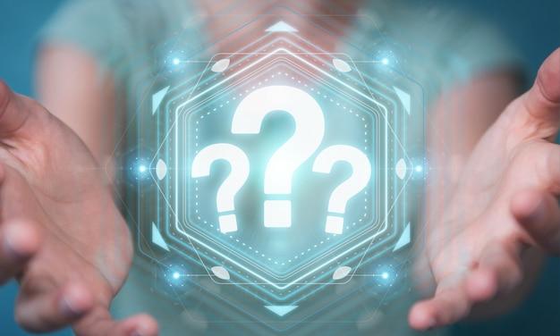 Empresaria usando la interfaz digital de los signos de interrogación