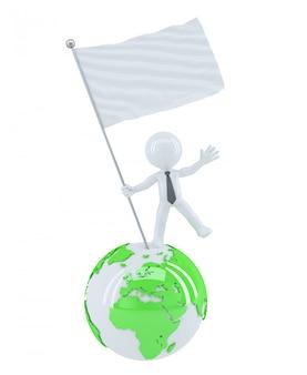 Empresario con bandera en blanco en la cima del mundo