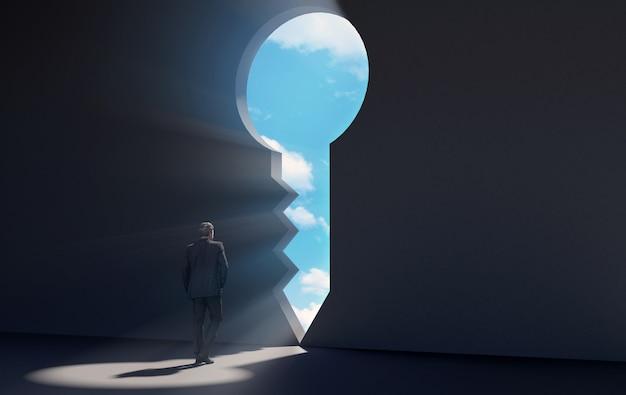 Empresario caminando hacia la puerta clave para una nueva oportunidad
