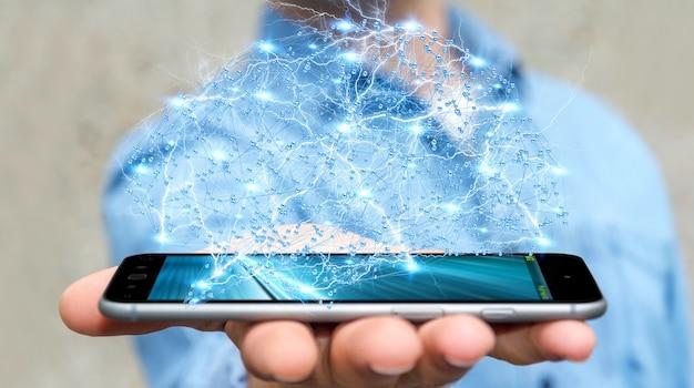 Empresario con cerebro humano de rayos x digital en su mano