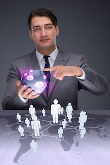 Empresario en concepto de redes sociales