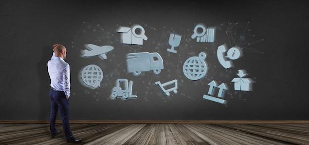 Empresario frente a una organización logística con representación de ícono y conexión 3d