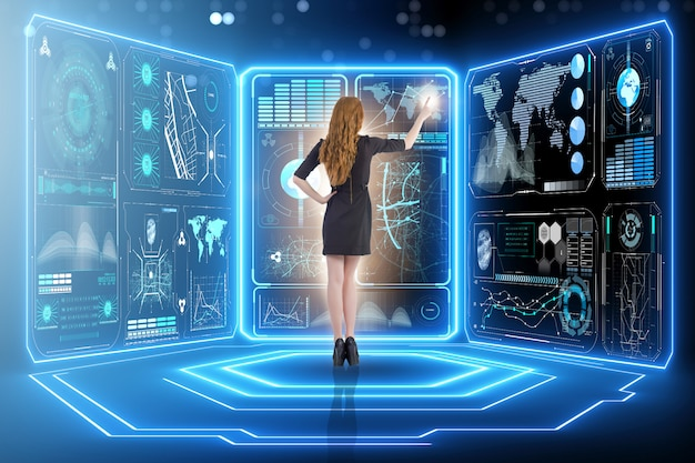 Empresario en gestión de big data